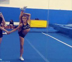 cheerleader cheerleading flexible what is this i don't even splits gif gymnast gymnastics