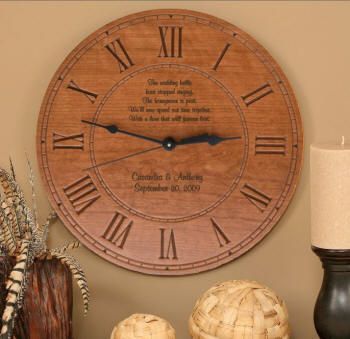 This gift will stand the test of time, and every time the recipients look at their personalized clock they will have fond memories of the giver and the occasion for which it was presented. With a couple's names and wedding date on the face of the clock, this is a truly special keepsake of their special day. This quality wood clock is made in the USA, has an accurate quartz movement, and will be a unique and beautiful addition to your home decor. $60.00. Free shipping in USA.