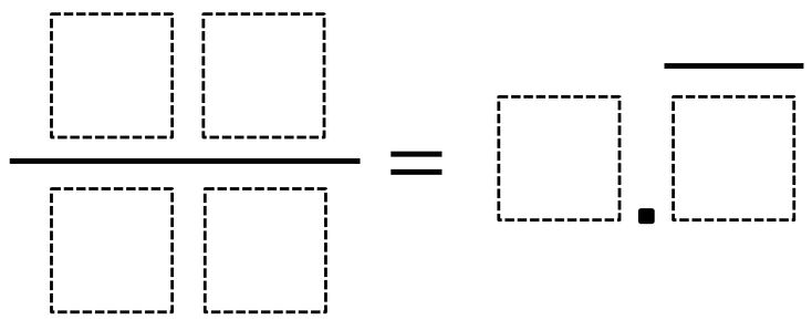 Directions: Using the numbers 0 through 9, at most one time each, fill in each of the boxes so that