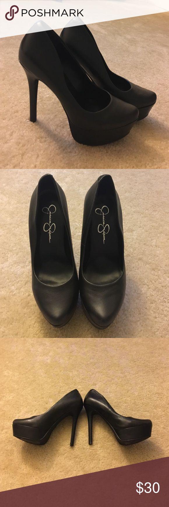 Jessica Simpson Black Leather Waleo Pumps  Jessica Simpson Black Leather Waleo Pumps / Size 6 / Good Condition Jessica Simpson Shoes Heels