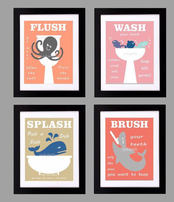 Kids Bathroom Print - Kids Bath Wall Art - Bathroom Rules - Customized Colors Nautical Childrens Bathroom Print - Wash Flush Brush Splash