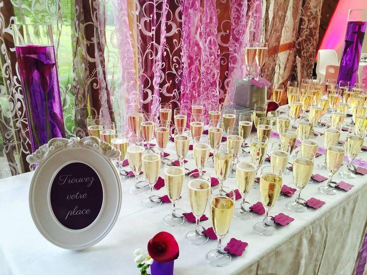 Plan De Table Original Mariage Fushia Et Violet Escort Card Champagne Wedding Hot Pink And