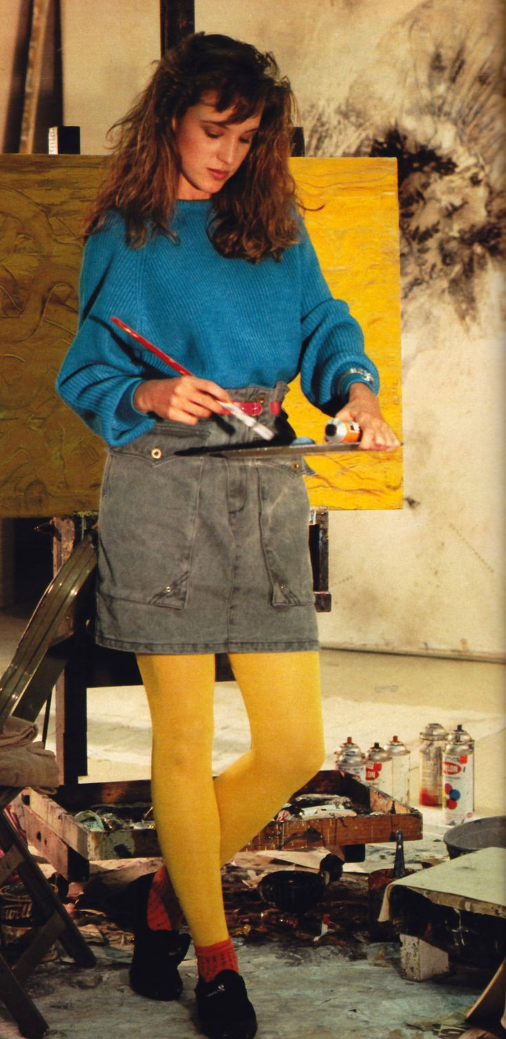 Robin Saidman for Seventeen magazine, August 1983. Sweater by Esprit; skirt by Triangle.