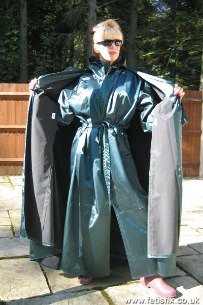 Stunning rubberized satin mackintosh coat and cape combination.