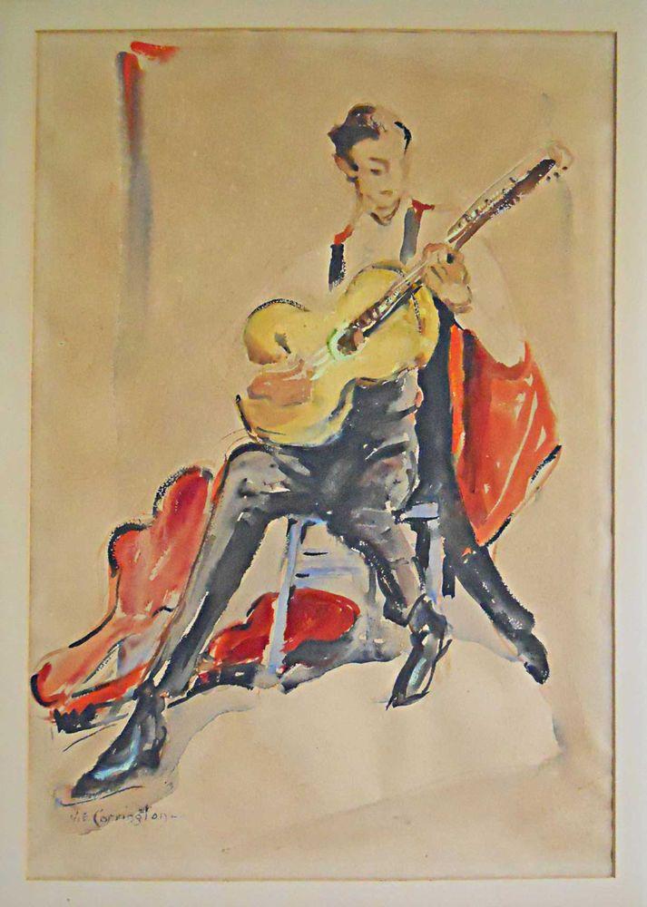 Modernist Vintage Painting Ve Carrington Flamenco Guitarist Watercolor Musician