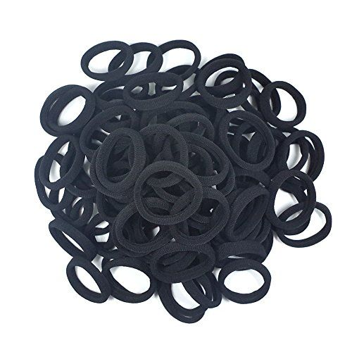Seamless 8mm High Elastic Cotton stretch Hair Ties Bands Rope Ponytail Holders Headband Scrunchie Hair Accessories No Slipping Snagging Breaking or Stretching Out(100pcs) (Black) by Hanmei #Seamless #High #Elastic #Cotton #stretch #Hair #Ties #Bands #Rope #Ponytail #Holders #Headband #Scrunchie #Accessories #Slipping #Snagging #Breaking #Stretching #Out(pcs) #(Black) #Hanmei