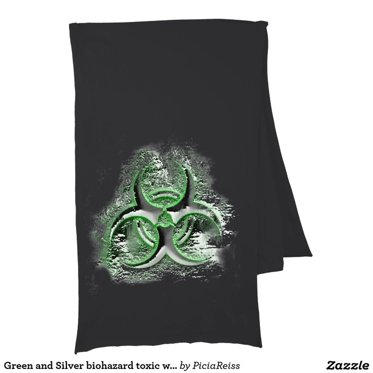 Green and Silver biohazard toxic warning sign Scarves