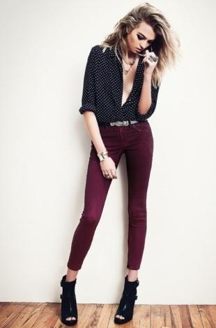 Polka dot shirt, plum jeans, & booties by Kasil workshop f/w '12 lookbook Need these damn plum jeans.