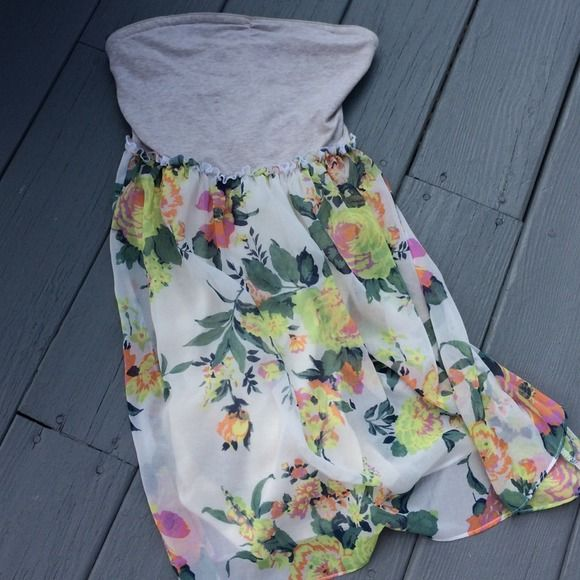 Sheer Boho Floral Strapless Dress with Slip Strapless heather grey bandeau top [which is so soft!] Floral sheer with slip built in!  EUC and looks beautiful on! Urban Outfitters Dresses Strapless