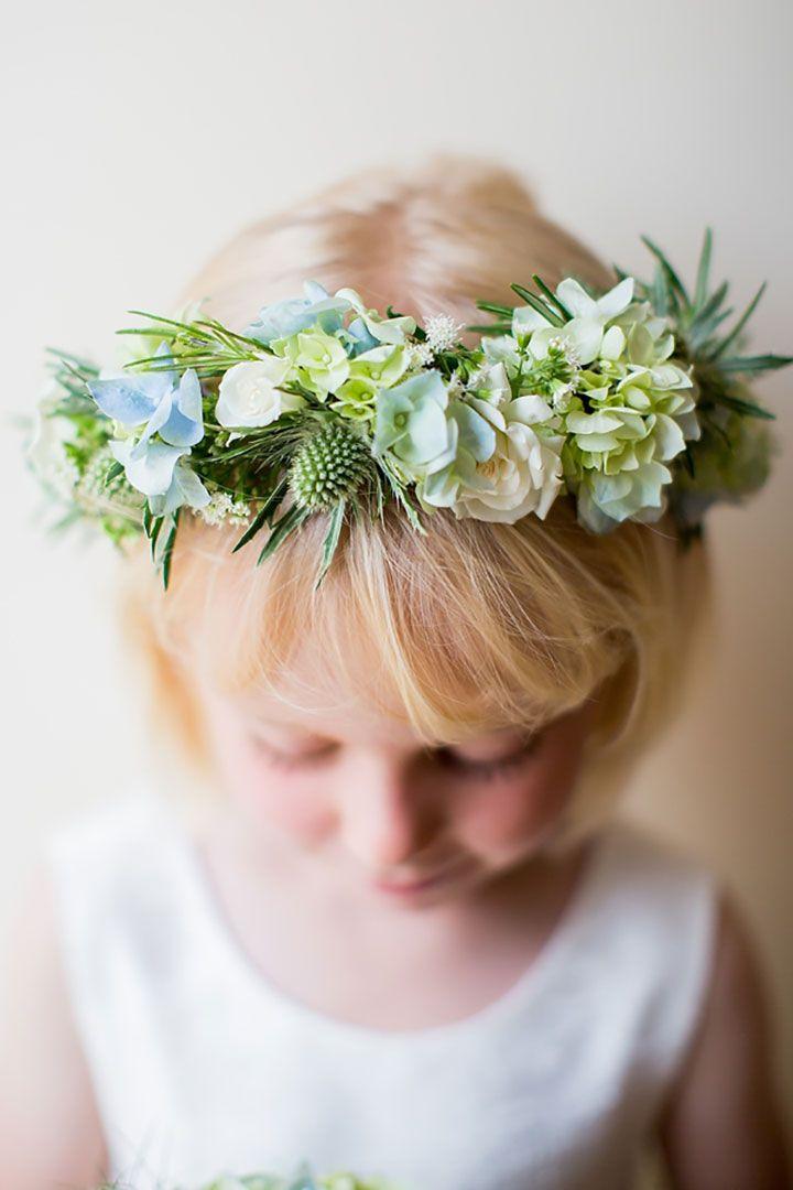 Pretty blue, white & green wreath of hydrangea, thistle, delphinium  ~ we ❤ this! moncheribridals.com