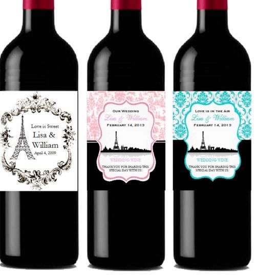 Personalized Paris French Theme Split Small Wine Label 8 Designs