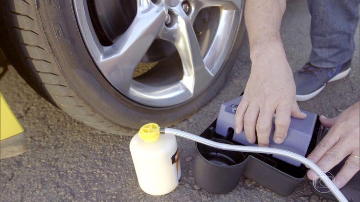 Carros usam selante no lugar do estepe em caso de pneu furado.