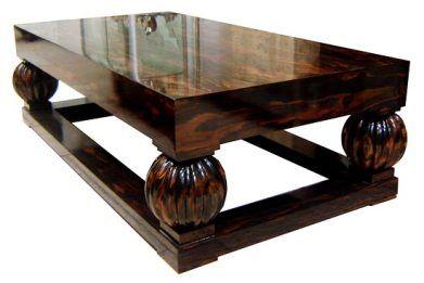 Art Deco Macassar Ebony Coffee Table  Ruhlmann style coffee table