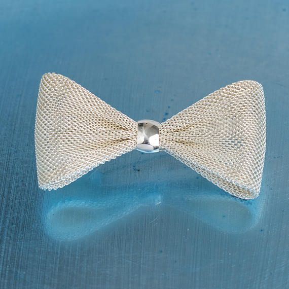 Vintage Bow Brooch Silver Tone  Bridal Accessory Bouquet