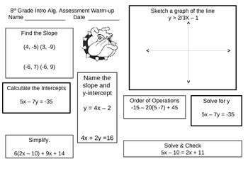 This warm-up includes slope, intercepts, graphing inequalities, simplifying expressions, solving equations and rewriting standard linear equations ...
