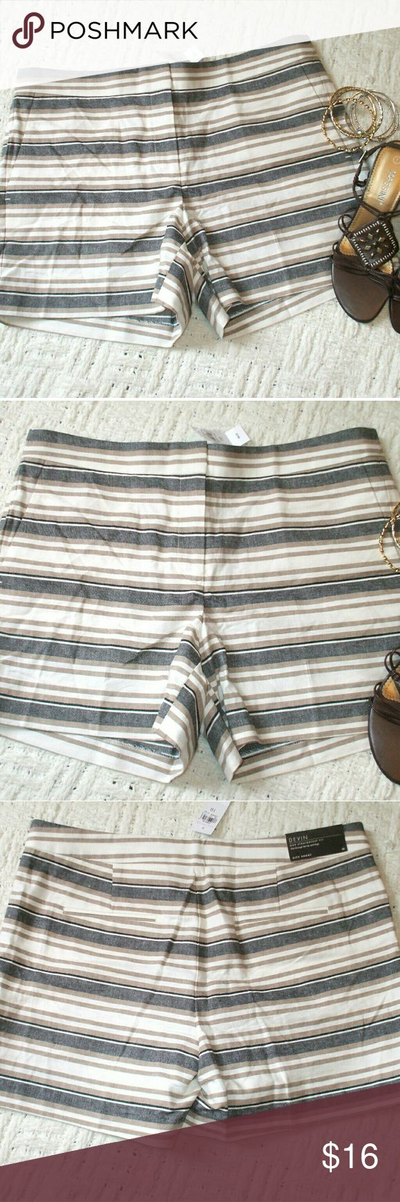 Ann Taylor Linen Blend Devin City Shorts Devin City Shorts (straightest fit) - White, black & brown stripes - 55% linen, 26% cotton, 19% rayon - Brand new with store tags - smoking home Ann Taylor Shorts