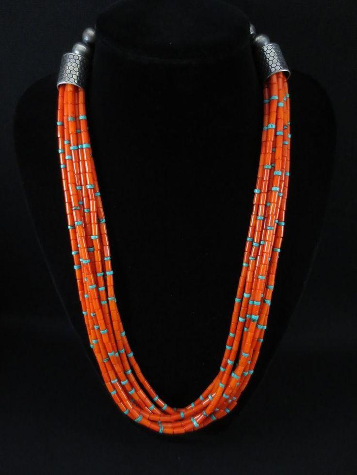 Vintage Pueblo Coral and Turquoise Necklace