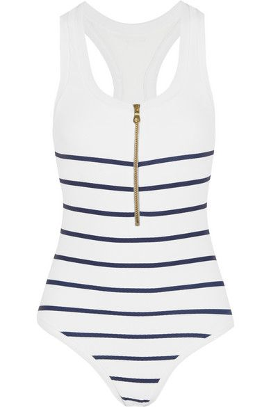 Heidi Klein's 'Nantucket' swimsuit will make a timeless addition to your vacation capsule. It's designed with an in-built bra to lift and support your bust and has a racer-back for optimum freedom of movement. This nautical-striped style is fully lined to ensure it won't become sheer when wet.