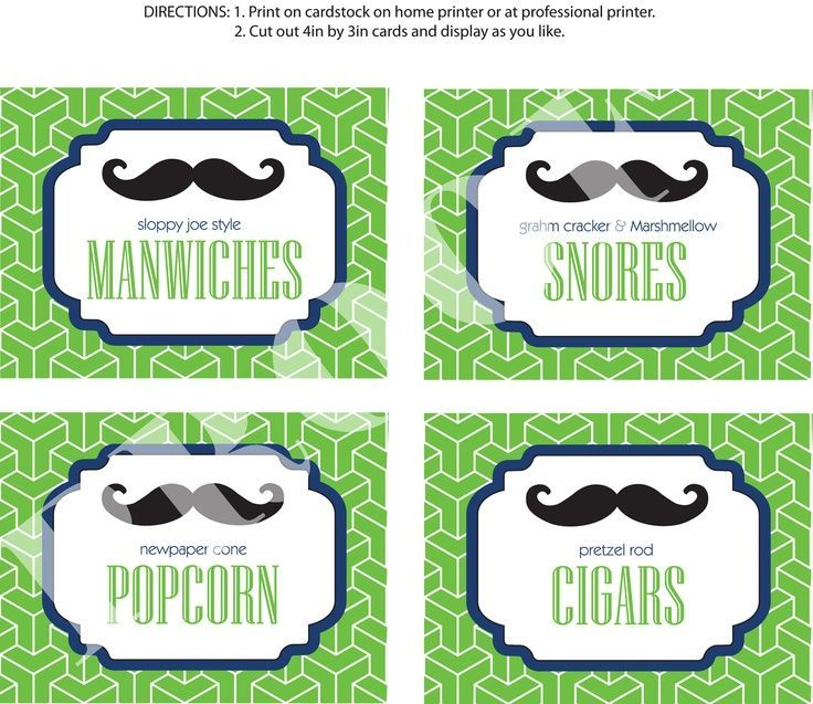 Mustache Party Food | mustache party food | DIY Printable Little Man Party Food Labels ... |
