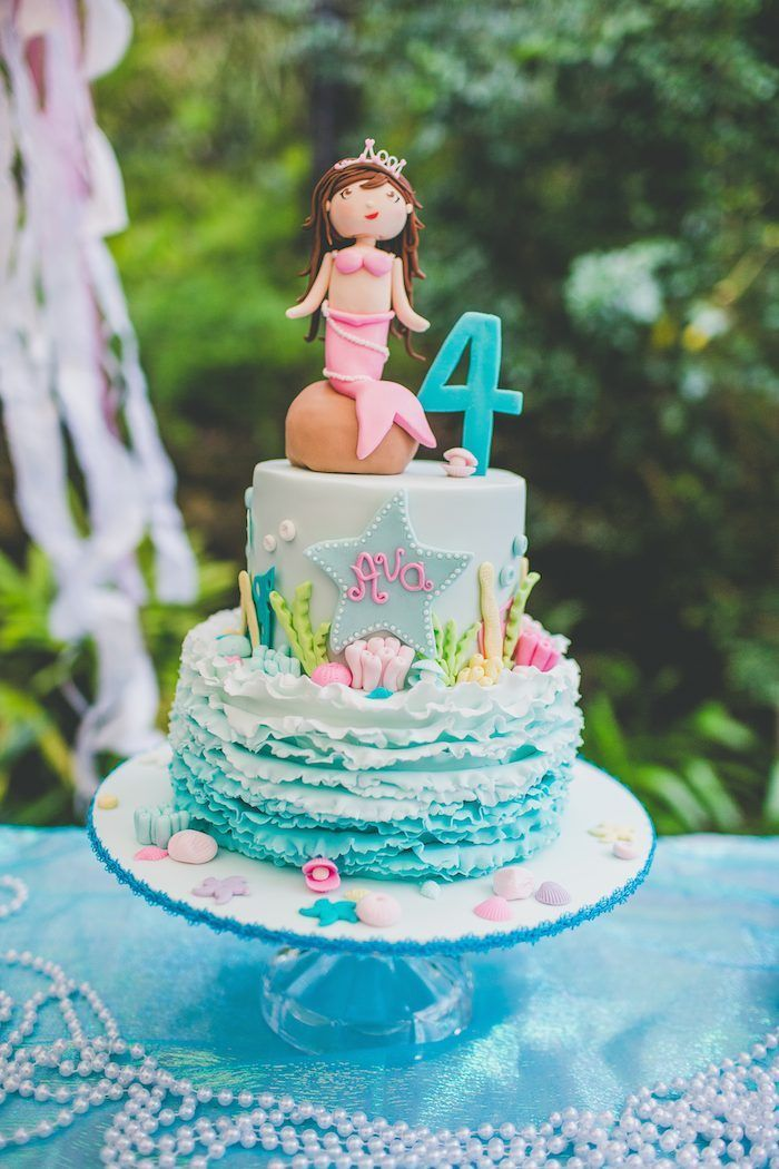 Mermaid themed 4th birthday party via Kara's Party Ideas http://KarasPartyIdeas.com Invitation, cake, printables, food, supplies, favors, and more! #mermaidparty #mermaid #undertheseaparty #underthesea (27)