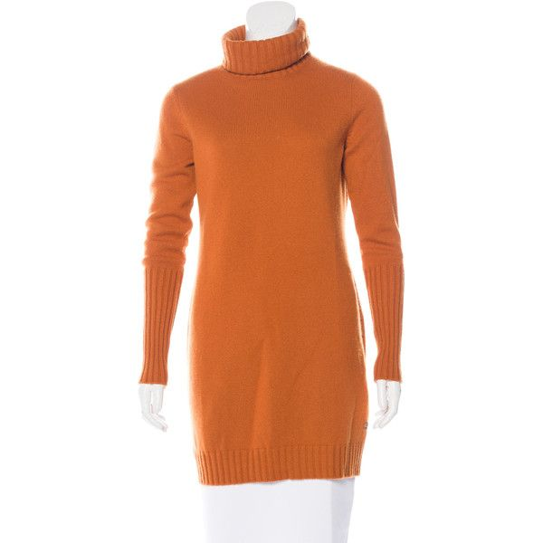 Pre-owned Loro Piana Cashmere Sweater Dress (920 AUD) ❤ liked on Polyvore featuring dresses, orange, orange long sleeve dress, orange dress, cashmere sweater dress, cashmere turtleneck and long sleeve dresses