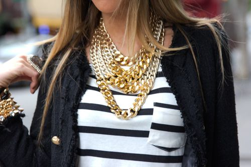 layers of gold necklaces + striped tee