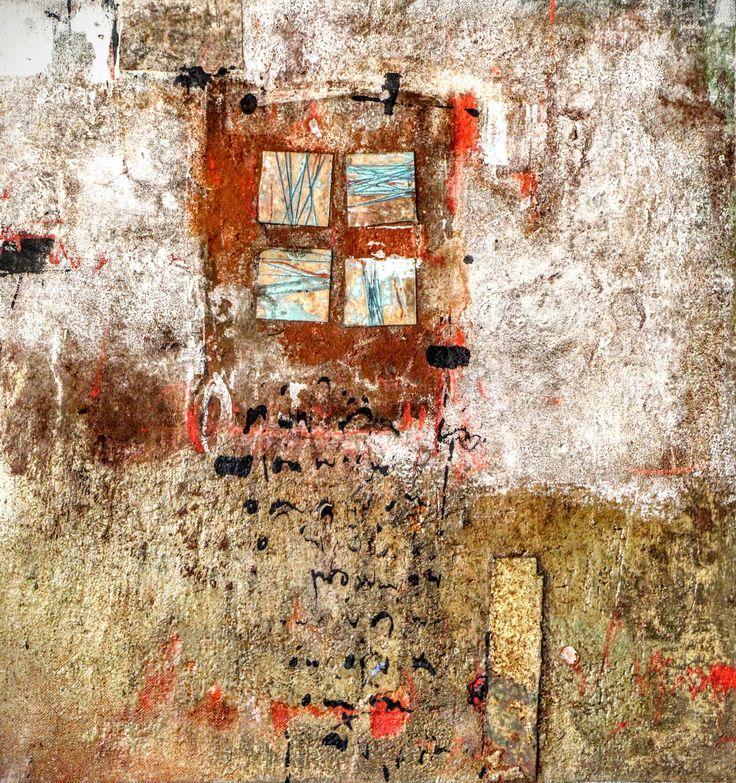Restes de mots et de cuivre.. Peinture de Mehdi Bourkia