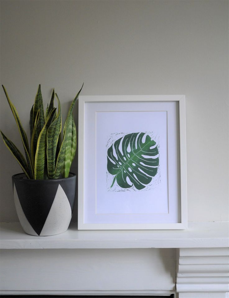 Monstera Cheese Plant A4 Lino Print Art Hand Printed Original Home Gift /// Green Monstera Deliciosa Leaf by TheBlackPugPress on Etsy https://www.etsy.com/uk/listing/495800592/monstera-cheese-plant-a4-lino-print-art
