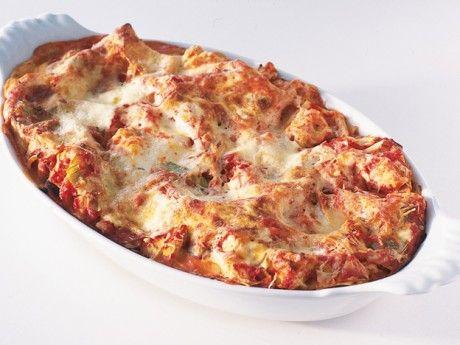 Vegetarisk lasagne med fetaost och kronärtskockshjärtan