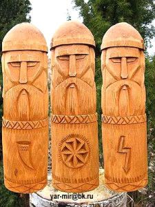 Triglav is a three-headed deity of Baltic Slavs, presumably a god of war. However, as the supreme god, he has the threefold role of the deity fulfilling three functions: deity of birth, afterlife, death and ancestors, and the deity of sustaining human life.  Similarity of Triglav and Svetovid suggests the possibility of them being one and the same deity, known by different names in different areas.