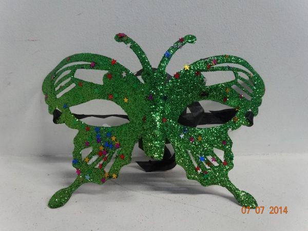Antifaz mariposa escarchada en verde. #FiestasTematicasCali #ProductosHoraLocaBogota