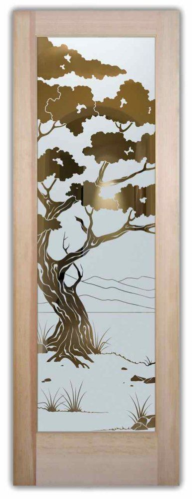 Glass front doors etching glass wooden decor asian design for Glass etching designs for doors
