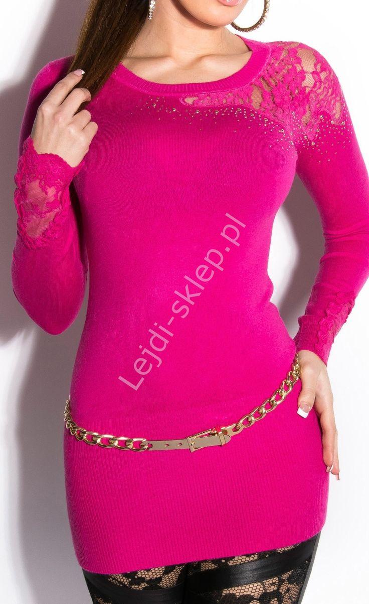 Tunika z koronka na ramionach, fuksja wełna + modal | tunika damska