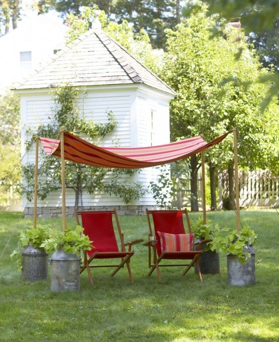 HOW to MAKE a GARDEN CANOPY: I have seen this canopy held up by many different things. You can use large pots and even cylinder blocks. easy!