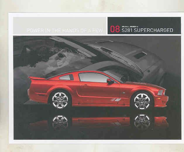2008 Ford Mustang Saleen S281 Supercharged Sales Card Brochure mx8976