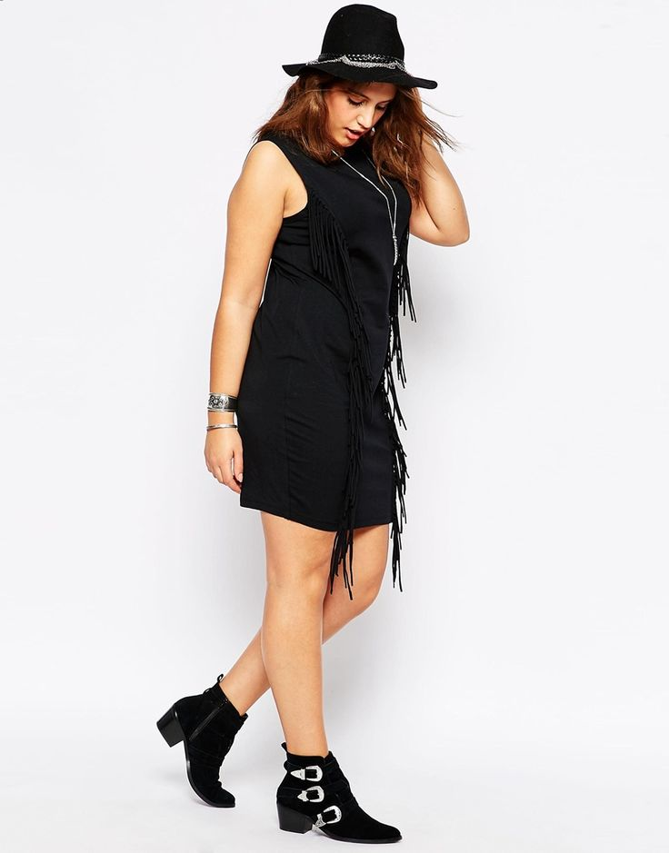 Image 4 of ASOS CURVE Festival Body-Conscious Dress with Fringing