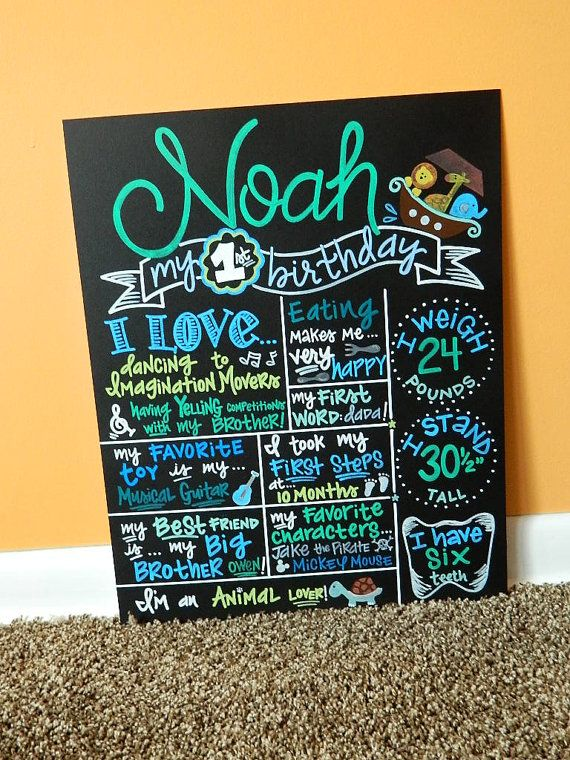 Hand Painted Birthday Chalkboard 1st Birthday Sign, Noah's Ark Theme by ArtByGillian, $70.00