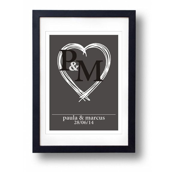 Personalised Wedding Gift A3 Print by mammothcreativeworks on Etsy