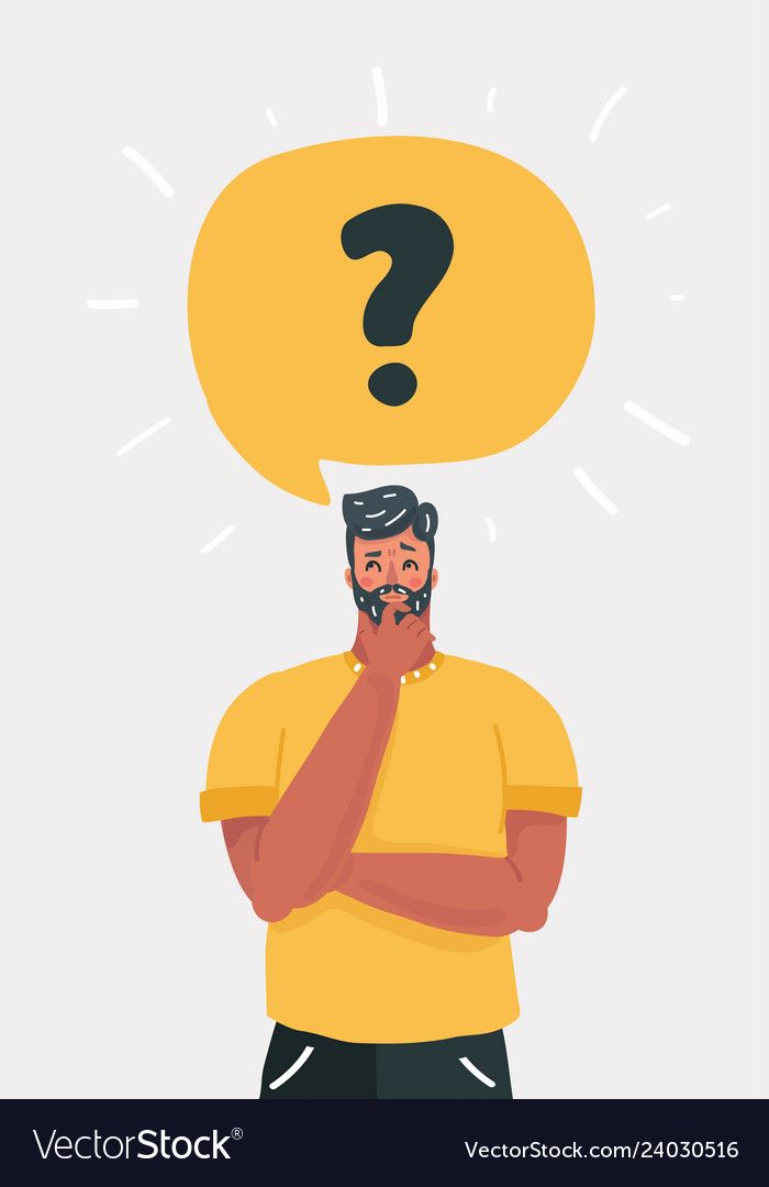 Vector Cartoon Illustration Of Man Is Thinking Question Mark In Speech Bubb In 2021 Vector Illustration Character Illustration Character Design This Or That Questions