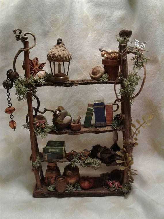 New Fairy House Bookshelf Miniature Ooak Custom Made To Order Fairy Furniture Fairy Furniture Miniatur In 2020 Fairy Garden Crafts Fairy Furniture Fairy Garden Diy