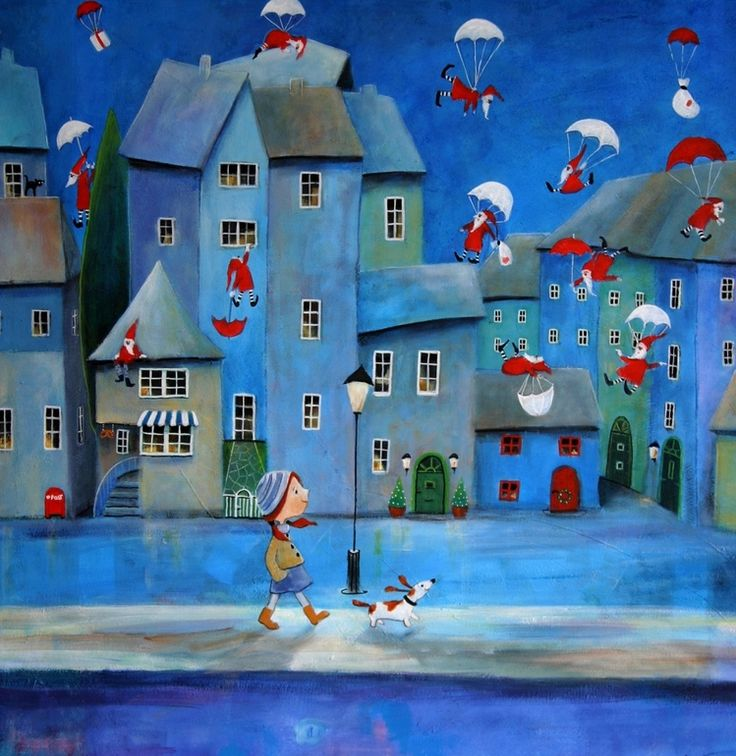"""Saatchi Online Artist: Iwona Lifsches; Acrylic 2013 Painting """"""""Santa Clauses Are Coming To Town"""" SOLD"""""""