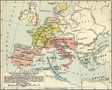 Map depicting the Germanic kingdoms of Europe in 526 and the Eastern Roman Empire.