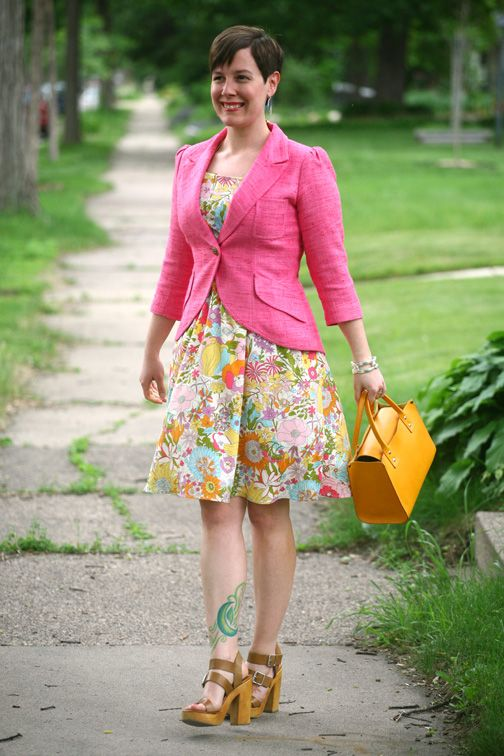 Already Pretty outfit featuring Smythe blazer, Liberty of London for Target dress, Steve Madden sandals, Kate Spade yellow handbag