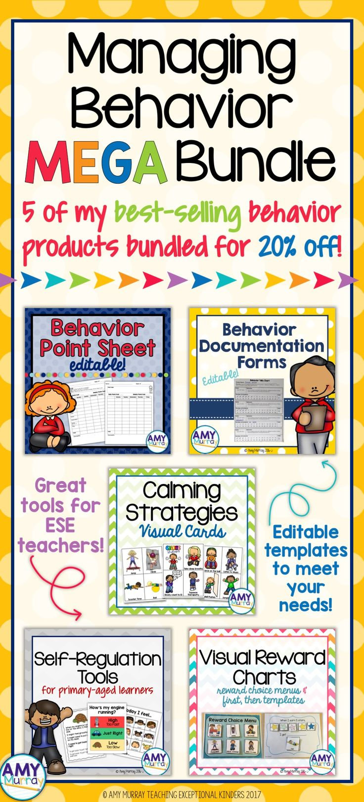 Managing Behavior MEGA bundle! 5 of my best selling behavior products to provide appropriate visuals and behavior supports for young students!