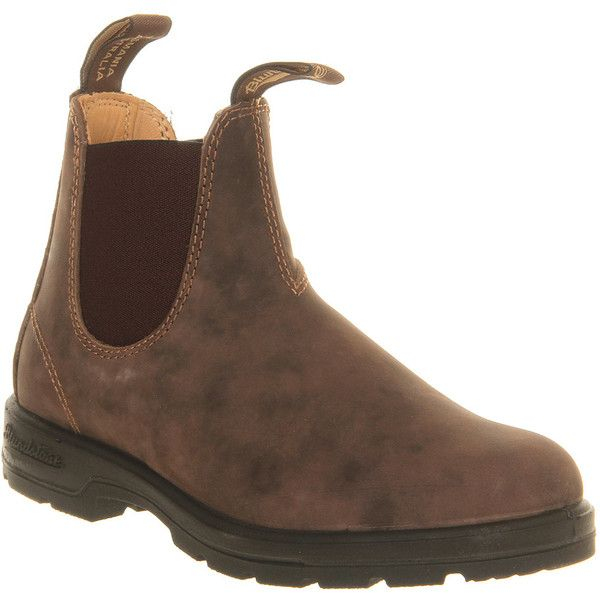 Blundstone Chelsea (2.560 ARS) ❤ liked on Polyvore featuring shoes, boots, ankle booties, fillers, ii, ankle boots, rustic brown leather, women, brown ankle boots and short brown boots