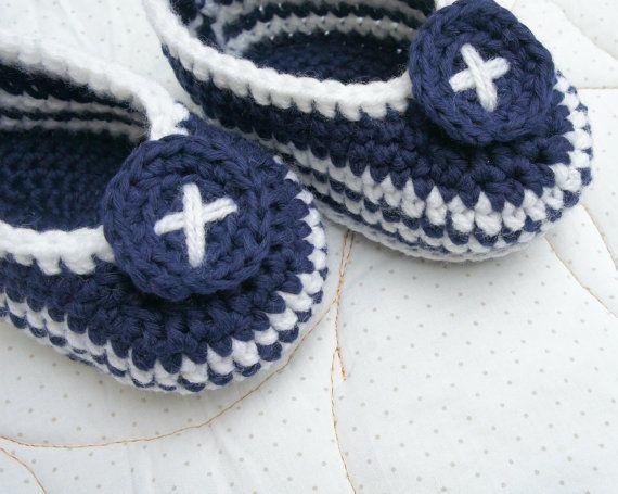 Baby socks boy crochet socks blue knit slippers by KsyuKnitting, $12.00