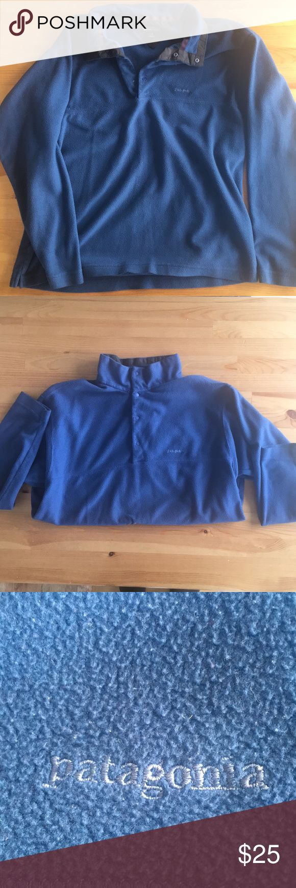 Patagonia fleece pullover Long sleeve and comfy. Navy blue, button snap. No defects Patagonia Tops Sweatshirts & Hoodies