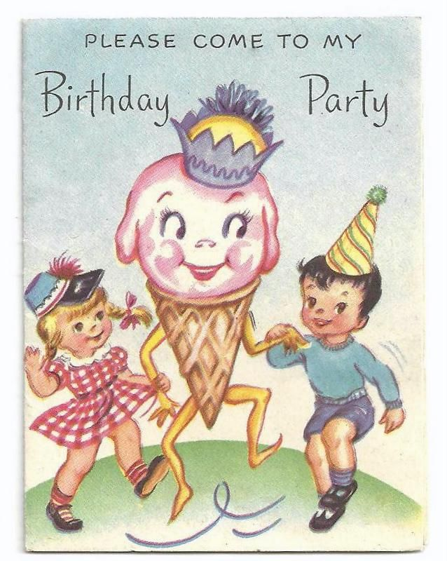 We want to dance with a giant ice cream cone! Vintage birthday invitation.
