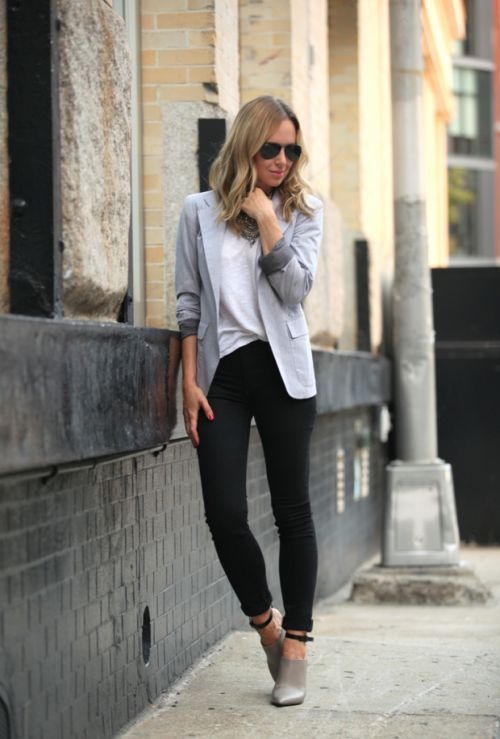 tenue femme décontractée en noir et gris