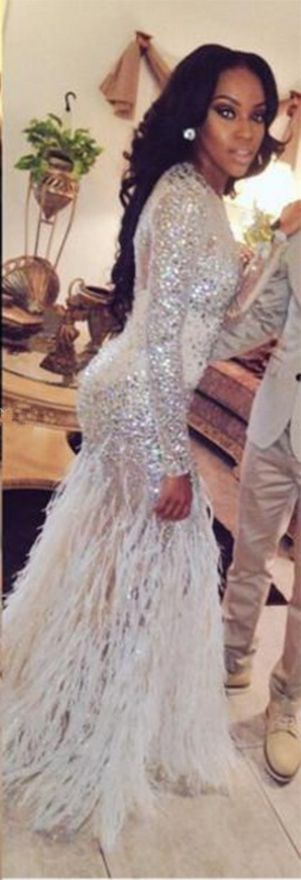 Prom Dresses With Feathers,Sexy Bling Sparkle Prom Dresses Mermaid Sheer Long…